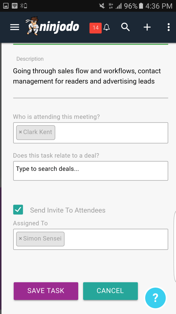 Invite Attendee Meeting - Ninjodo Mobile CRM