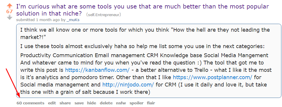 business tools reddit post