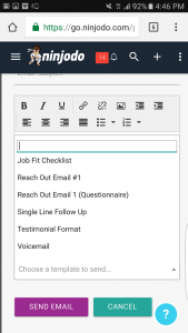 Choose Email Template Ninjodo Mobile CRM